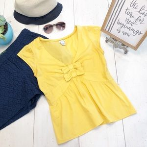 ANTHROPOLOGIE ODILLE yellow Bow Tie Top